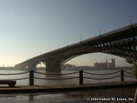 Eads Bridge in early morning fog