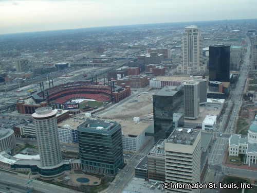 View of St Louis from the top of the Gateway Arch