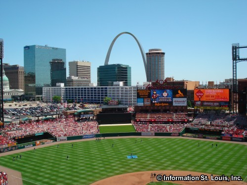 View of downtown St Louis from Busch Stadium