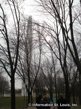 The Gateway Arch grounds in winter